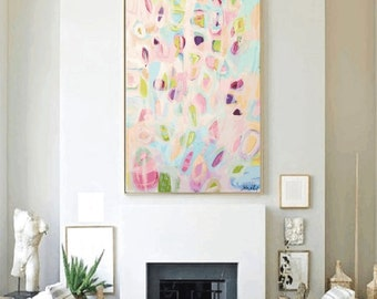 "40""original painting ,, large painting ,,rosa creme, painting,, abstract Painting,,canvas painting,,wall art,,by Jolina Anthony"
