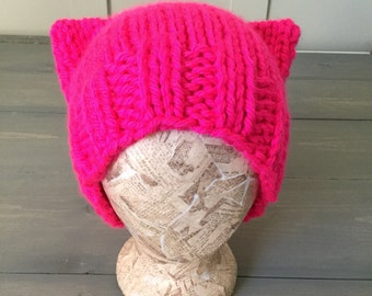 NEON pink PussyHat, Charity Donation, March on Washington, Pussy hat Knit Hat, Ready to Ship, HOT Pink Pussy Hat, resist, be bold for change