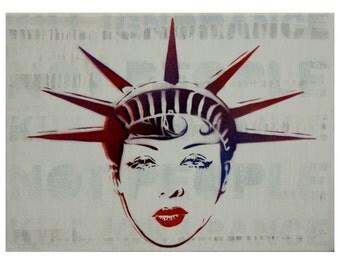 Josephine Baker Statue of Liberty Americana Art Vintage Fashion Art 12x16 French Art Black Art Pinup Burlesque Graffiti on Canvas Street Art