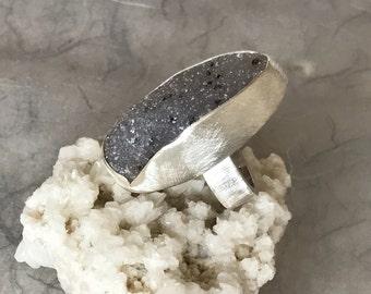 Silver Statement Ring, Druzy Dalmatian Quartz, size 8, unique OOAK, ready to ship