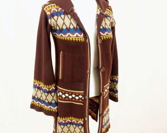 70s Cardigan Sweater * Boho Cardigan * Boho Sweater * Long Sweater * Brown Knit Sweater * Hippie Sweater * Bell Sleeve Sweater