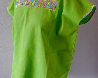 "Chiapas embroidered cross stitch blusa leaf green pastel design boho resort coverup Frida Kahlo - Large 25"" W x 27""L"