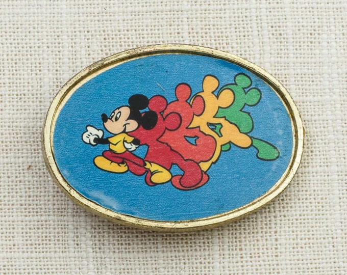 Mickey Mouse Vintage Belt Buckle Blue Gold Oval Red Orange Yellow Green Walt Disney Productions Belt Buckle 7G