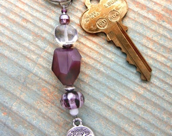 Tree of Life key chain or bag charm of plum & lampwork glass beads // backpack charm // ornament