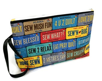 Large Zipper Pouch Row by Row On The Go Sewing License Plates Zipper Project Bag / Sewing Bag / Quilting Sewing Gift S285