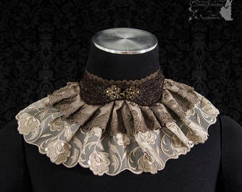 Steampunk Victorian choker, beige brown, lace collar, Somnia Romantica, size small - medium see item details for measurements