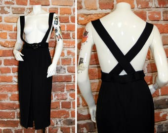 Vintage Long Black Detachable Suspender Skirt / Pleated Slit Skirt + Belt / Size Small