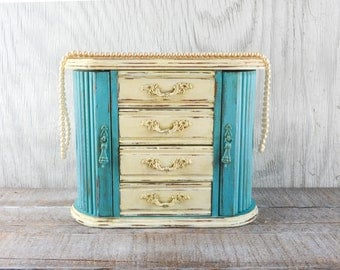 Shabby chic Jewelry box, jewelry organizer, hand painted distressed light turquoise and creamy ivory chalk paint,  beach decor