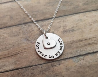 Sympathy Gift - Forever In My Heart Necklace, Loss of a Loved one, RIP, Never Forgotten, In loving memory, In memory Of