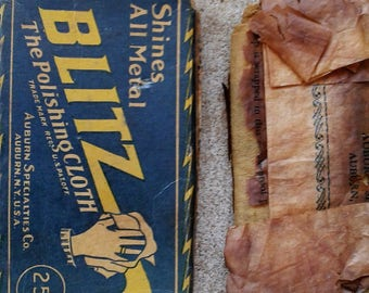 Very old Blitz Polishing Cloth with box and Athgo Athletes Foot Treatment Bottle