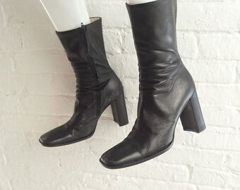 Black Ankle Boots 9 39.5 90s Vintage Square Toe Chunky Heel Platform High Heel Boots Goth Witch Mod Minimalist Grunge Italy Leather Boots