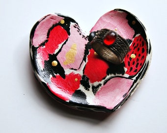 heart ring dish, brush stroke art, abstract art, trinket dish, catch all, painted clay dish, jewelry dish,