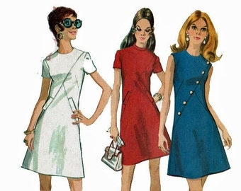 Mod 1970 Dress Vintage sewing pattern Size Miss Petite 14 Bust 36 Scooter Girl Fashion High fashion McCalls 2390
