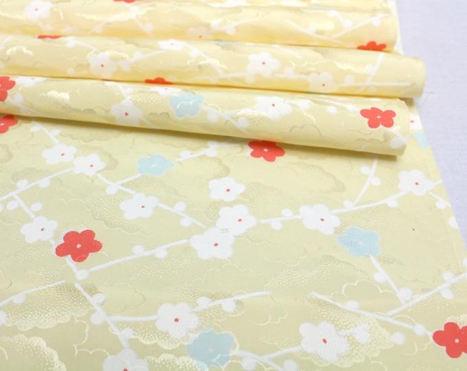 Vintage Japanese Silk. Artisan Kimono Fabric. Yellow Plum Blossom Design (Ref: 1616)