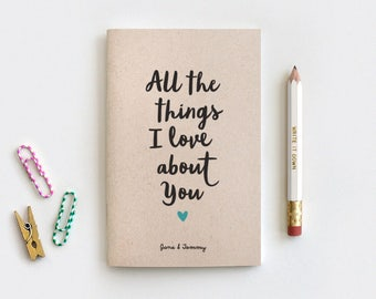Wedding Gift, Reasons I Love You Notebook & Pencil - For Her Recycled Journal - All the Things I Love About You - Reasons Why I Love You
