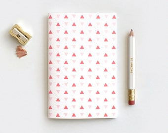 Midori Travelers Notebook Insert - Triangles Large or Mini Journal & Pencil Set, Stocking Stuffer Back to School, Patterned Coral Navy Mint