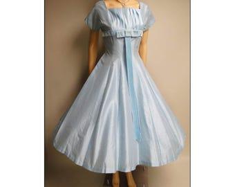 Vintage 1950s Dress | 50 Blue Dress | Rockabilly Dress | 50s Dress | Full Dress |