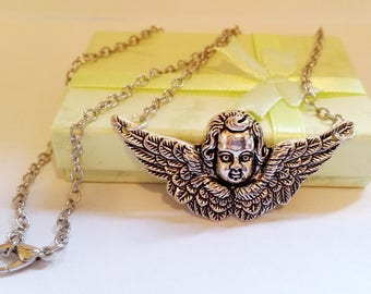 Gothic Steampunk Angel with wings charm pendant necklace Israel Hand made