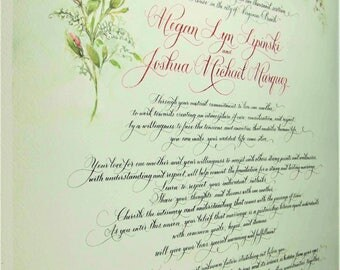 Renewal of Wedding Vows.  Calligraphy and made to order custom art.   1st Anniversary paper gift.