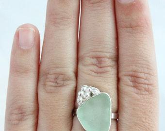 Sea Glass Ring, Sterling Silver Sea Glass Ring, Beach Glass Ring, Sea Glass Jewelry, Seaglass Ring, Genuine Sea Glass Jewelry,