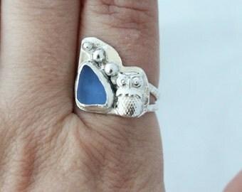 Cornflower Blue Sea Glass Ring with Owl, Sea Glass Ring, Blue Beach Glass Ring, Sterling Silver Ring, Silver Owl Ring, Sea glass Jewelry