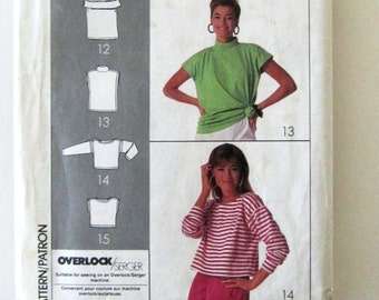 1980s Top Pattern, Simplicity 9057, Womens Pullover Stretch Knit Top Sewing Pattern, Super Simple Elements, Variations, One Size, UNCUT