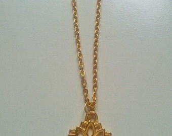 Dainty Gold Lotus Charm Necklace, Charm Necklace, Yoga Jewelry, Delicate Necklace