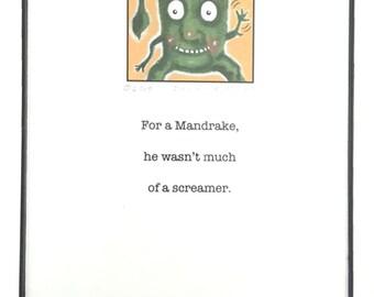 Whimsical Kitchen Decor, Framed Mandrake Print