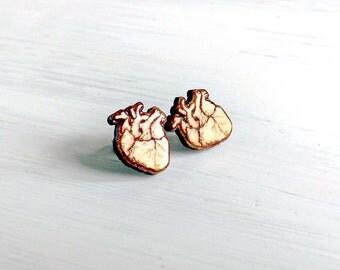 Human heart wood earring studs. Wood earrings, laser cut studs, human heart jewelry, nurse gift, hypoallergenic surgical steel, for nurse