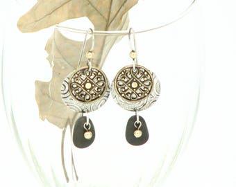 Mixed Metal Beach Stone Earrings Sterling Silver Dangle Earrings Hippie Bohemian Gypsy Earrings Earthy  Silver Metal Work Gifts For Her