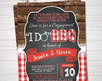 I Do BBQ Engagement Invitation, Couples Co-Ed Backyard BBQ Party, Engagement Party, Customized Digital Download OR Prints (Details Below)