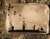 "photo encaustic - ""the Day We Climbed Croagh Patrick"" - molten wax poured over archival photo to look like an antique wavy glass window"