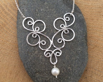 Extra Fancy Spiral Sterling Silver Pendant with Freshwater Pearl, Argentium Silver