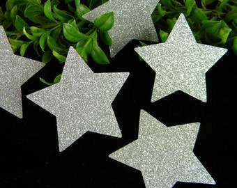 """24 Stars Silver Glitter Twinkle twinkle Stars baby Shower Large 2-7/8"""" Table Scatter Decoration Confetti 