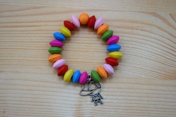 Rainbow bracelet, children bracelet, kids bracelet,colorful bracelet,wood bracelet,beaded bracelet,kids jewelry,girl jewelry,big sister