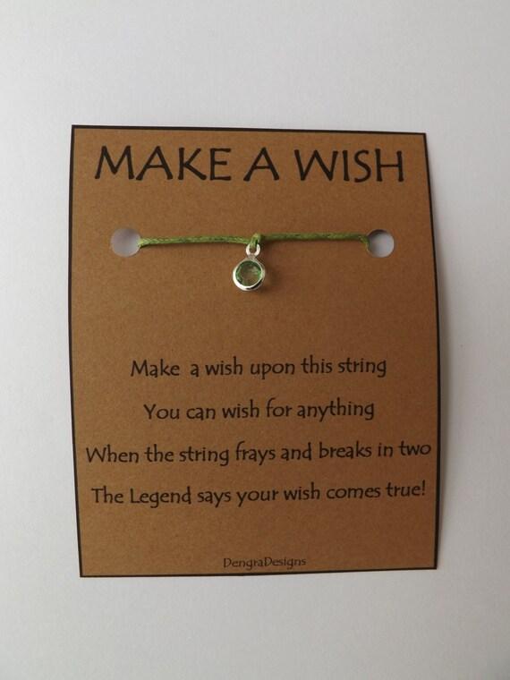 August Peridot Rhinestone Crystal Drop Birthstone WISH STRING Bracelet String Friendship Bracelet  Amulet Lucky Stocking Stuffer