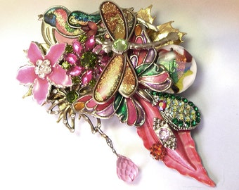 One of a Kind OOAK Upcycled Recycled Large Big Unique Handmade Dragonfly Jewelry, dragonfly brooch, dragonfly pin, made with vintage jewelry
