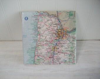 Tile Map Trivet Coaster / Oregon Map Coaster Trivet /  Oregon State Map 6 Inch Wine Coaster Trivet / Large Size Coaster or Trivet