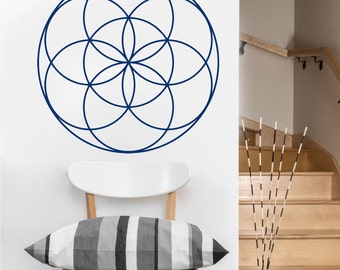 seed of life mandala vinyl Wall DECAL-flower Sacred geometry, sticker art, rainbow Holographic