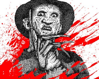 Hand Drawn Freddy Krueger inspired fan art Print