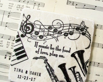 Musical Wedding Coasters, Personalized Wedding Gift, If Music be the Food of Love, Play On, Set of 4 Stone Coasters, Wedding Registry
