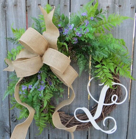 Everyday Wreath, Fern Wreath for All Year Round, Door Wreath, Monogram Wreath, Burlap Wreath, Green Wreath, Touch of Purple