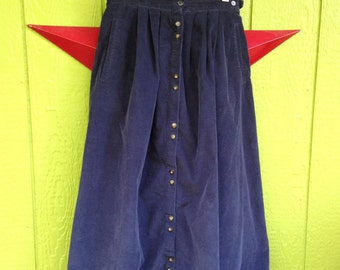 Eddie Bauer Navy Blue 1990's Button Front Pleated Mid Calf Corduroy Skirt Size: S