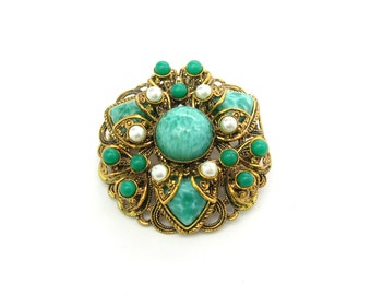 Peking Glass Brooch. Gold Gilt Filigree, Jade Green Art Glass, Glass Pearl Accents. Dome Shape. Made in West Germany. Vintage 1950s Jewelry