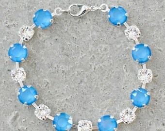 Blue Bridal Bracelet White Diamond Tennis Bracelet Swarovski Crystal Summer Blue Bridal Jewelry Something Blue  Bridal Bracelet Wedding Gift