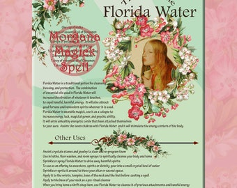 FLORIDA WATER COLOGNE &  Label Sheet,  Book of Shadows  Grimoire, Scrapbook, Spells, White Magick, Wicca, Witchcraft, Herb Magic