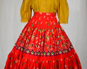 70s Scandinavian super full ruffle hem red circle skirt with folk art print and pleated detailing by Westerlind size S/M