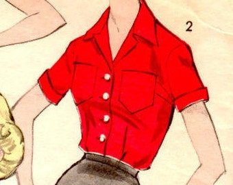 No. 9274 Size 20 1960's Advance Pattern - Misses' and Women's Blouse - Tailored Blouse Sewing Pattern Supply Misses Blouse Pattern Mod 60s c