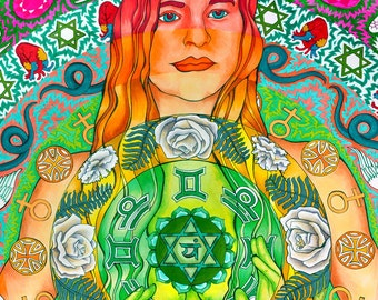Anahata, Heart Chakra Round Print (Trippy Psychedelic Spiritual Colorful Marker and Ink Self-Portrait in Green)