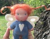 Mini Fae Doll Luna, blue romper, fairy wings